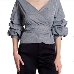 Gracia puff sleeves wrap blouse